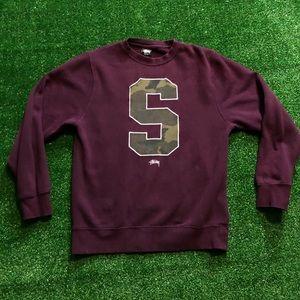 Stussy maroon and camo sweatshirt